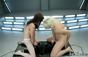 Squirting lesbos snatch toyed hard by gear