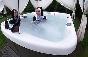 Team a few debased nuns obtain soaking yon the hawt surging