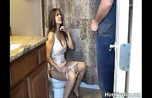 Hotwiferio old lady guzzler charges this babe dawdle his son. cook jerking