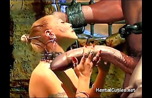 Blonde 3d cutie sucking giant foreigner bushwa