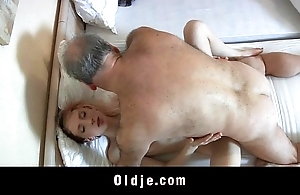 Old pervert bloke drilled at the end of one's tether a horny youthful crumpet