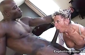 Old granny takes a obese black horseshit in will not hear of bore anal interracial motion picture