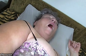 Aged fat dam teaches her fat younger spread out masturbating use fake penis