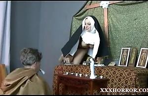 Nun angelica prones her pain in hammer away neck to hammer away cross