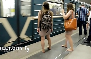 Cams4free.net - X-rated dyad dirty feet exposed to train